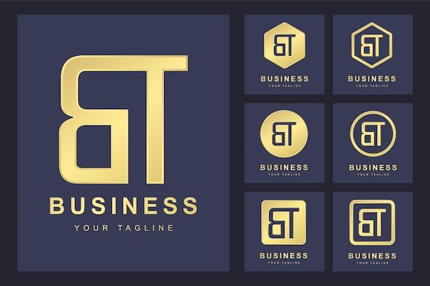 Pierwsza litera bt z kilkoma wersjami, elegancki złoty szablon logo