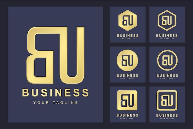 Pierwsza litera bu z kilkoma wersjami, elegancki złoty szablon logo