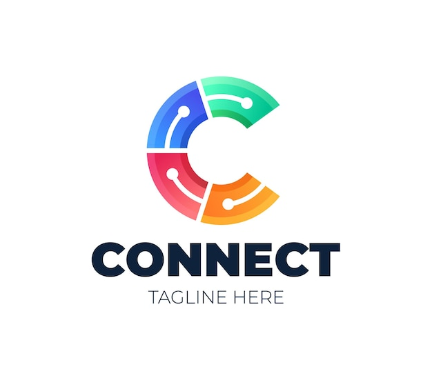 Pierwsza litera c logo symbol połączonego koła. element szablonu projektu