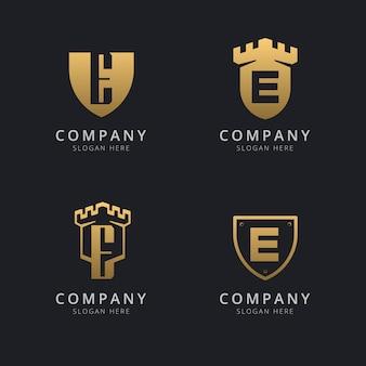 Pierwsza litera e i tarcza w złotym stylu