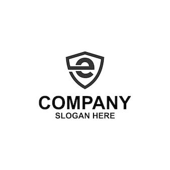 Pierwsza litera e tarcza logo premium