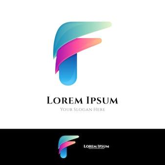 Pierwsza litera f. szablon logo gradientu