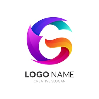 Pierwsza litera g logo, kolorowe 3d