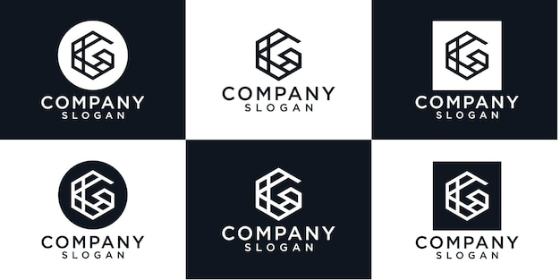 Pierwsza litera g logo szablon.