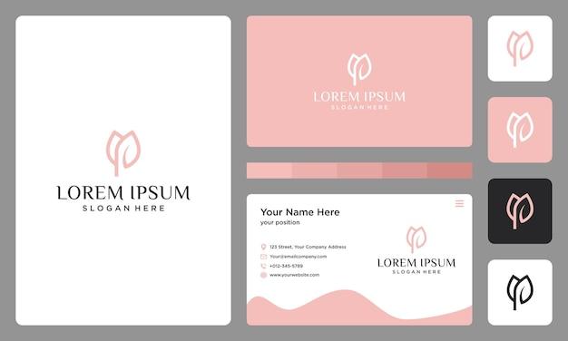 Pierwsza litera p i logo róży. projekt wizytówki