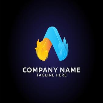 Pierwsza litera szablon logo wektor monogram w dwóch kolorach gradientu z płomieniem