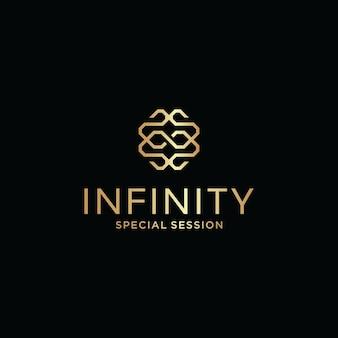 Pierwsza litera z abstrakcyjnym logo nieskończoności