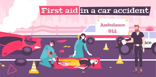 Pierwsza pomoc w płaskiej kompozycji wypadku samochodowego z ilustracją zepsutego samochodu