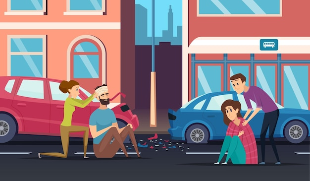Pierwsza pomoc. wypadek drogowy osobisty pomagający osobie do samochodu lub roweru kierowcy medycyny tło kreskówka.
