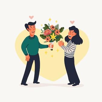 Pierwsza randka. mężczyzna daje kobiecie piękny bukiet kwiatów