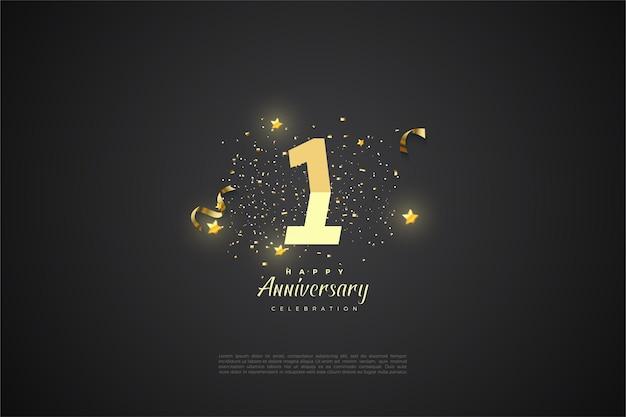 Pierwsza rocznica z ilustracjami stopniowanych liczb i małymi gwiazdkami.
