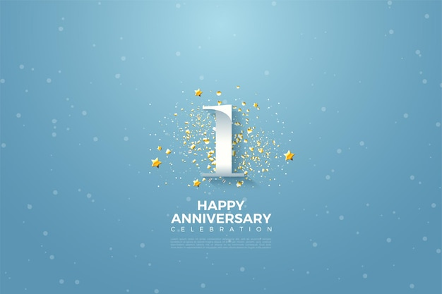 Pierwsza rocznica z numeryczną ilustracją nad niebem i otoczona małymi gwiazdkami.
