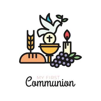 Pierwsze symbole komunii dla miłego projektu zaproszenia