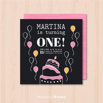 Pierwsze urodziny ręcznie rysowane balony szablon karty