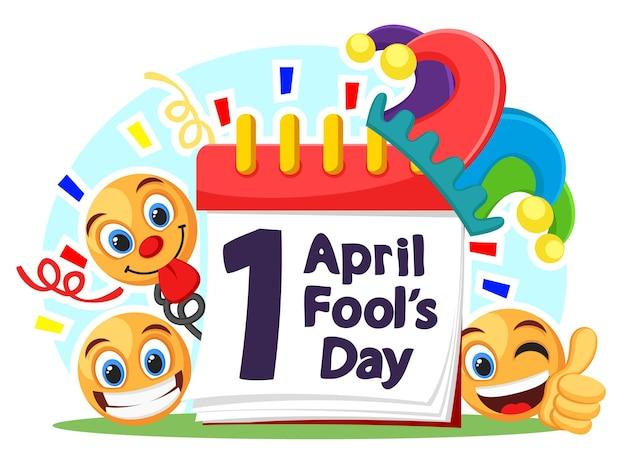 Pierwszy kwietnia w kalendarzu ze śmiesznymi uśmiechami i czapką głupka. fools day