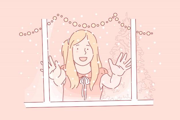 Pierwszy śnieg, szczęśliwe dzieciństwo, koncepcja zimowa