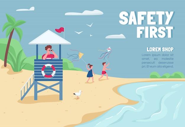Pierwszy szablon płaski transparent bezpieczeństwa. broszura, plakat projekt koncepcyjny z postaciami z kreskówek. ratownik piasek tropikalnej plaży w wieży poziomej ulotki, ulotki z miejscem na tekst