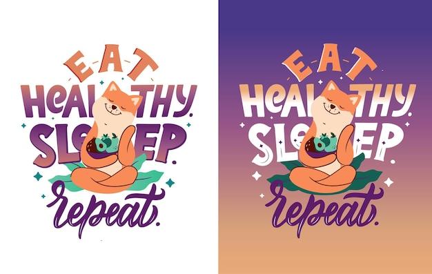 Pies akita z frazą - jedz zdrowo, śpij, powtarzaj. senne zwierzę przytula miskę sałatki owocowej.