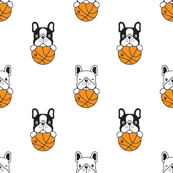 Pies bez szwu wzór buldog francuski do koszykówki