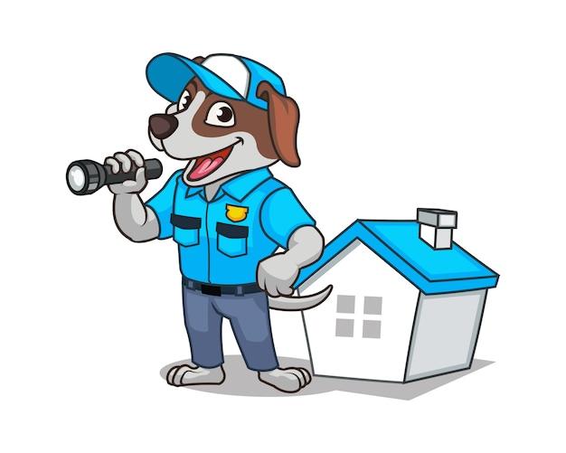 Pies bezpieczeństwa niosący flash light guarding house cartoon maskotka