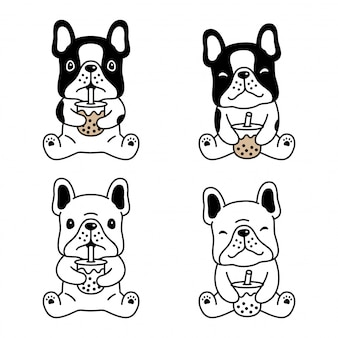 Pies buldog francuski boba mleka kreskówka herbata