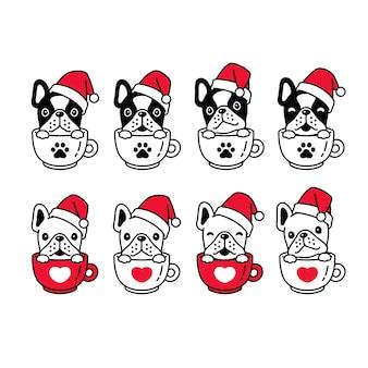 Pies buldog francuski boże narodzenie santa claus filiżanka kawy