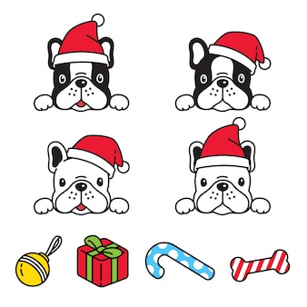 Pies buldog francuski boże narodzenie santa claus hat ilustracja kreskówka