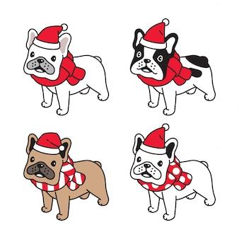 Pies buldog francuski boże narodzenie santa claus ilustracja kreskówka