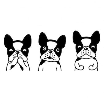 Pies buldog francuski ilustracja kreskówka zwierzę