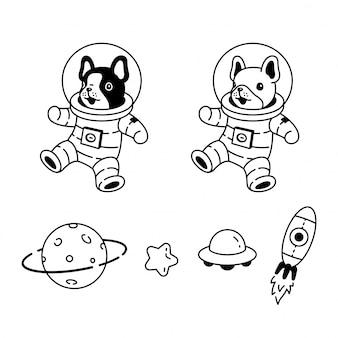Pies buldog francuski kombinezon kosmiczny planeta ilustracja kreskówka