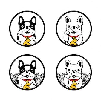 Pies buldog francuski maneki neko szczęśliwy kot charakter ilustracja kreskówka