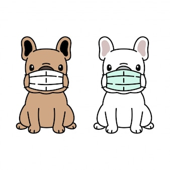 Pies buldog francuski maska na twarz koronawirus covid-19