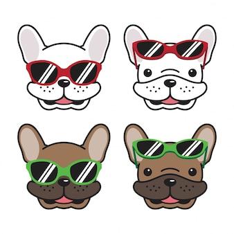 Pies buldog francuski okulary kreskówka