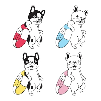 Pies buldog francuski pływanie pierścień postać z kreskówki zwierzę doodle szczeniak