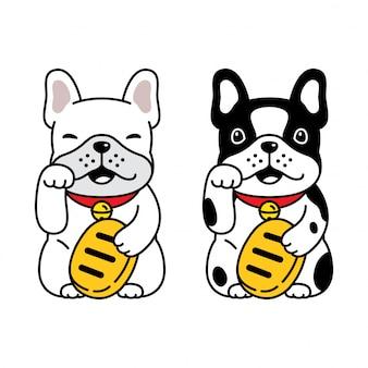 Pies buldog francuski szczęśliwy kot maneki neko kreskówka