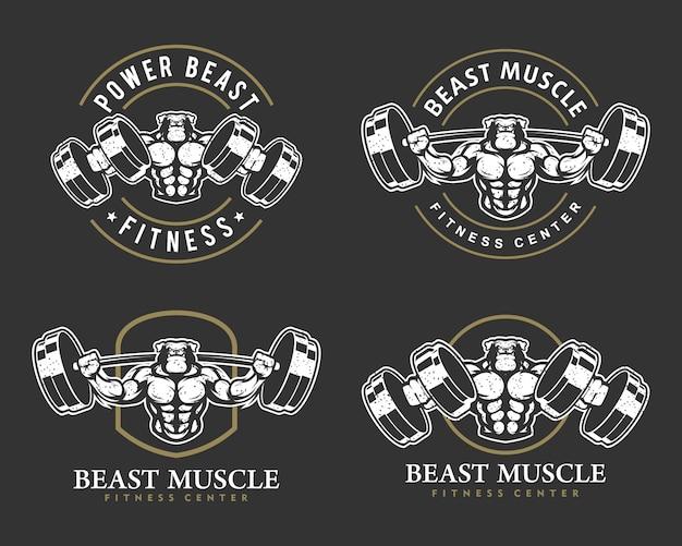 Pies buldog k9 z mocnym ciałem, zestawem logo klubu fitness lub siłowni.