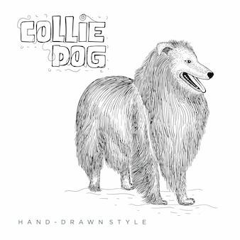 Pies collie. ręcznie rysowane ilustracji zwierząt