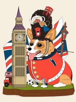 Pies corgi i brytyjskie elementy turystyczne, kolorowe