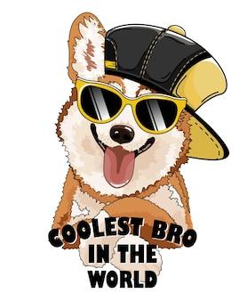 Pies corgi w czarnym kapeluszu i okularach.