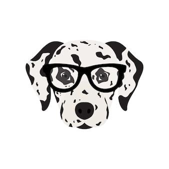 Pies dalmatyńczyk w okularach