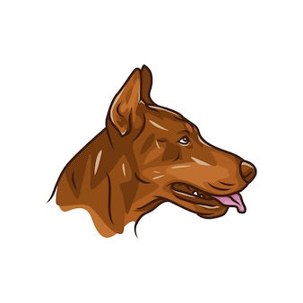 Pies doberman - wektor logo / ikona ilustracja maskotka