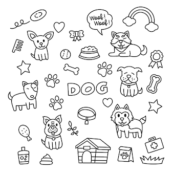 Pies doodle elementy stylu kawaii