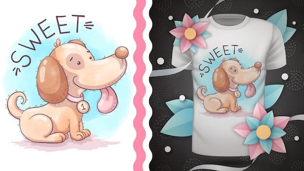 Pies dziecinna postać z kreskówki zwierząt ilustracja projekt na t-shirt z nadrukiem