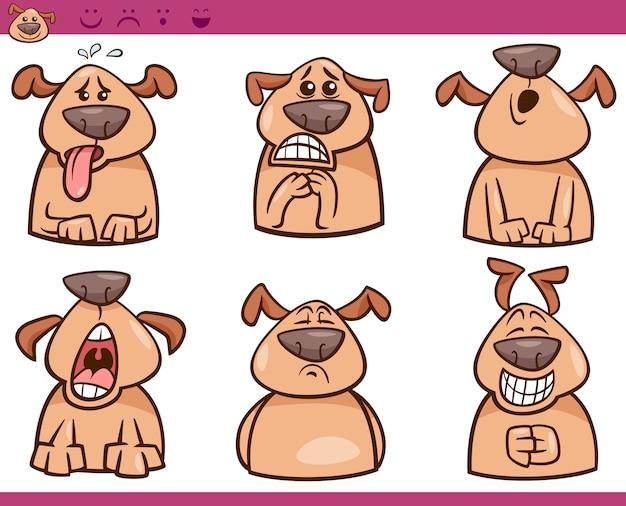 Pies emocje ilustracja kreskówka zestaw