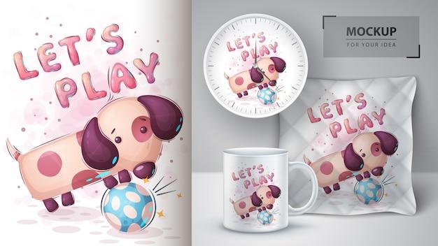 Pies gra w piłkę nożną - plakat i merchandising