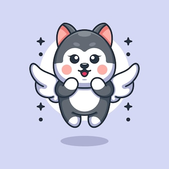 Pies husky ładny kąt latający