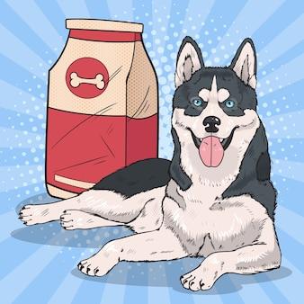 Pies husky w stylu pop art z dużym pakietem żywności