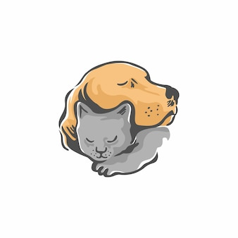 Pies i kot wektor logo