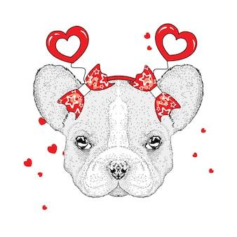 Pies i serca na walentynki na białym tle