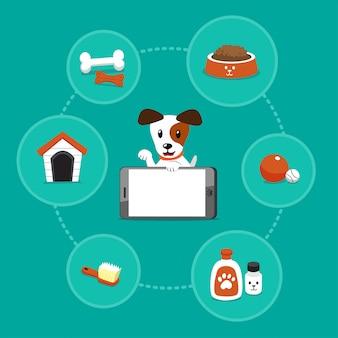 Pies jack russell terrier kreskówka z smartphone i akcesoria